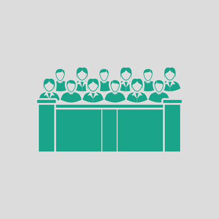 jurors: Jury icon. Gray background with green. Vector illustration.