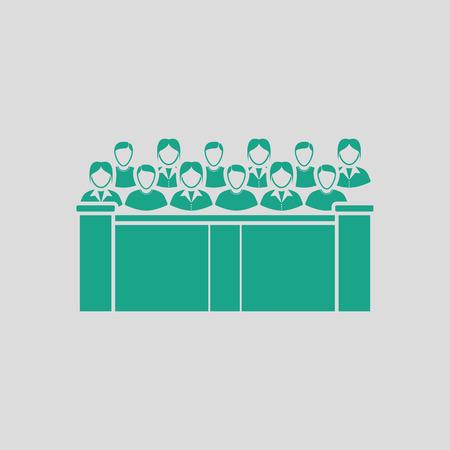 jurado: Jury icon. Gray background with green. Vector illustration.
