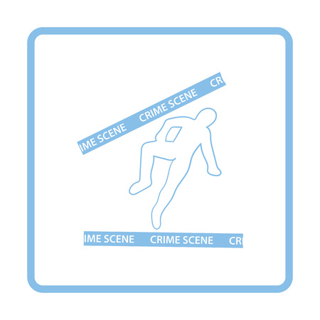killed: Crime scene icon. Blue frame design. Vector illustration. Illustration