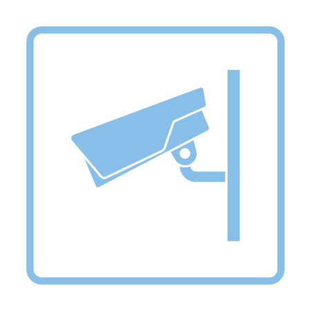 monitored area: Security camera icon. Blue frame design. Vector illustration.
