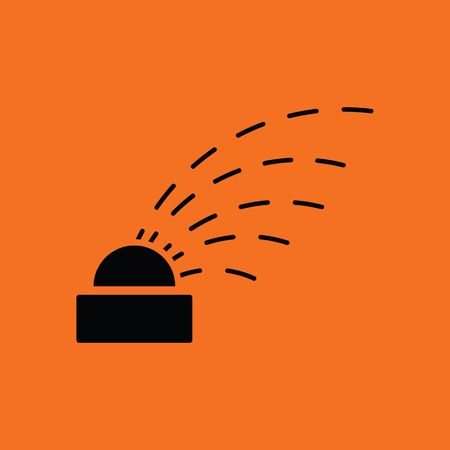 grass land: Automatic watering icon. Orange background with black. Vector illustration.