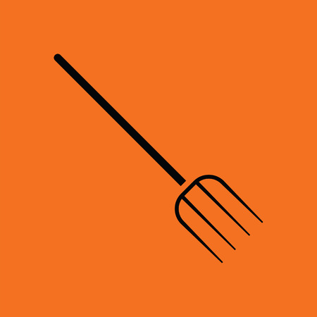 hayfork: Pitchfork icon. Orange background with black. Vector illustration.