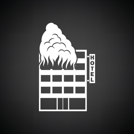 arson: Hotel building in fire icon. Black background with white. Vector illustration.