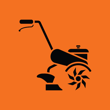 Garden tiller icon. Orange background with black. Vector illustration.