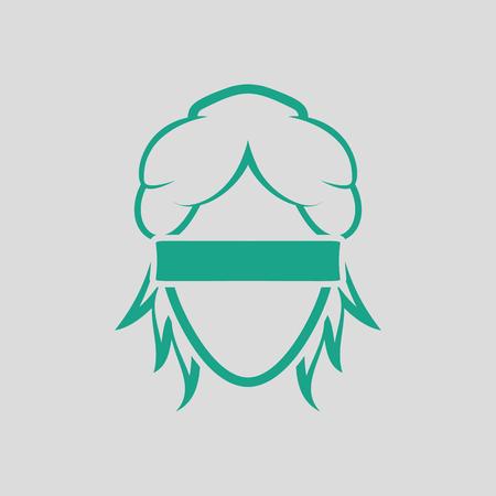 female judge: Femida head icon. Gray background with green. Vector illustration.