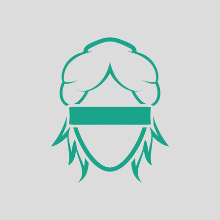 Femida head icon. Gray background with green. Vector illustration.