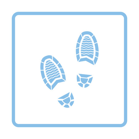 Man footprint icon. Blue frame design. Vector illustration. Illustration