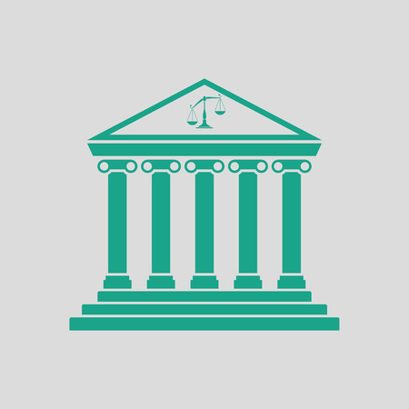 Courthouse icon. Gray background with green. Vector illustration.