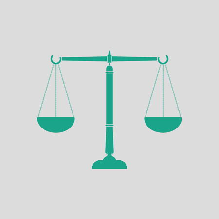 gray scale: Justice scale icon. Gray background with green. Vector illustration. Illustration
