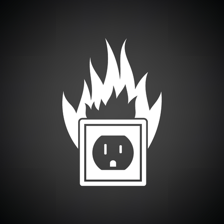 electric outlet: Electric outlet fire icon. Black background with white. Vector illustration. Illustration