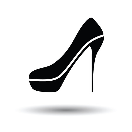 Sexy high heel shoe icon. White background with shadow design. Vector illustration. Illustration