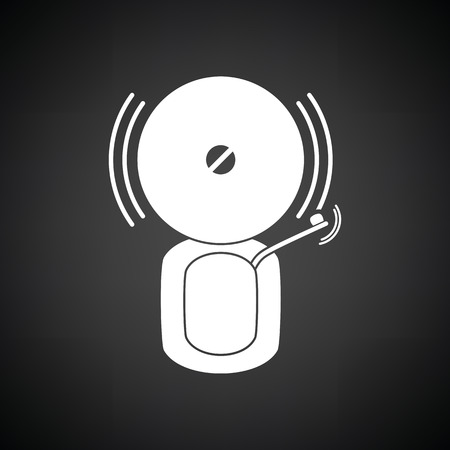 Fire alarm icon. Black background with white. Vector illustration.