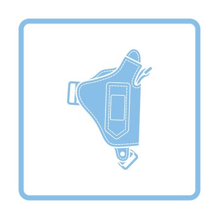 peacemaker: Police holster gun icon. Blue frame design. Vector illustration.