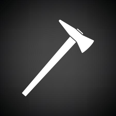 wooden cut: Fire axe icon. Black background with white. Vector illustration.