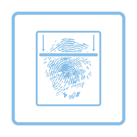 thumb print: Fingerprint scan icon. Blue frame design. Vector illustration.