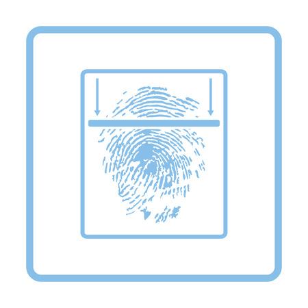 odcisk kciuka: Fingerprint scan icon. Blue frame design. Vector illustration.