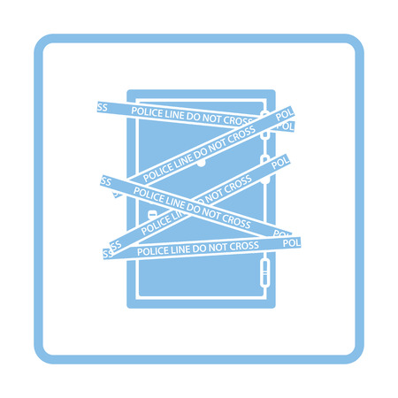 residential zone: Crime scene door icon. Blue frame design. Vector illustration.