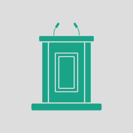 witness: Witness stand icon. Gray background with green. Vector illustration. Illustration