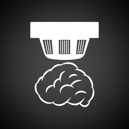 carbon monoxide: Smoke sensor icon. Black background with white. Vector illustration.