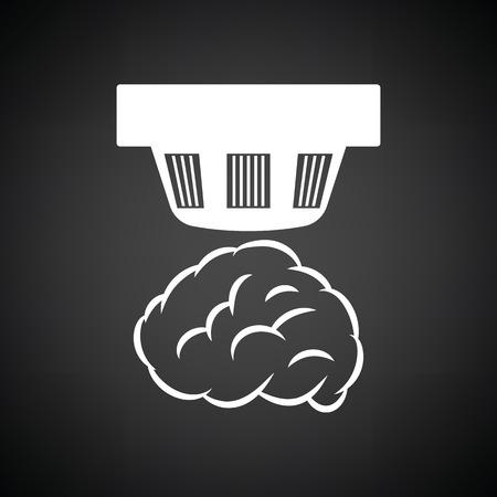 Smoke sensor icon. Black background with white. Vector illustration.