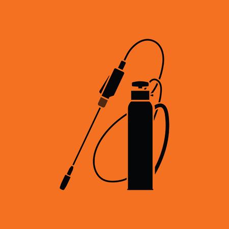 Garden sprayer icon. Orange background with black. Vector illustration.