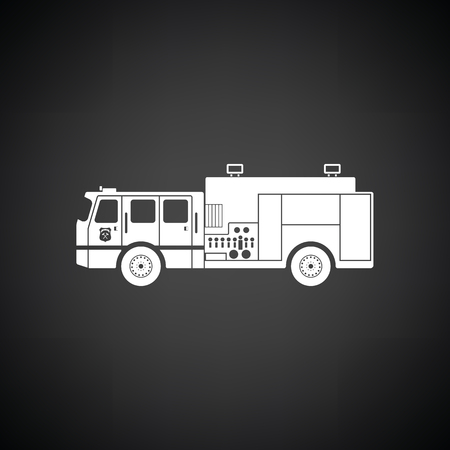 Fire service truck icon. Black background with white. Vector illustration.