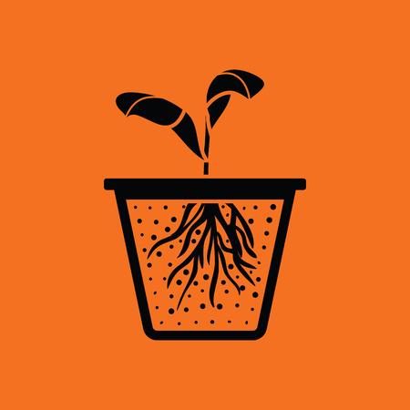 Seedling icon. Orange background with black. Vector illustration.