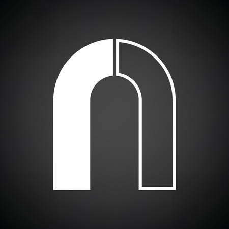 magnetismo: Magnet icon. Black background with white. Vector illustration.