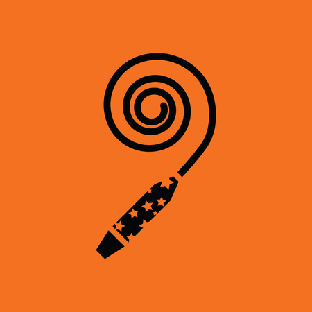 fanfare: Party whistle icon. Orange background with black. Vector illustration.