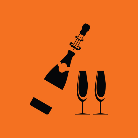 clink: Party champagne and glass icon. Orange background with black. Vector illustration. Illustration