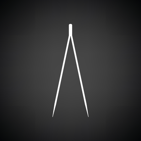 forceps: Electric tweezers icon. Black background with white. Vector illustration. Illustration