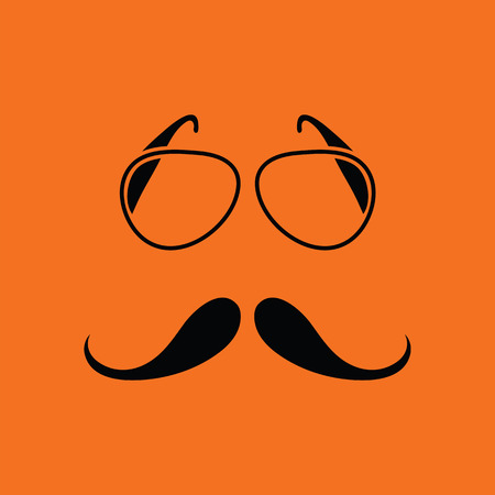 Glasses and mustache icon. Orange background with black. Vector illustration.