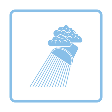 rainfall: Rainfall like from bucket icon. Blue frame design. Vector illustration.