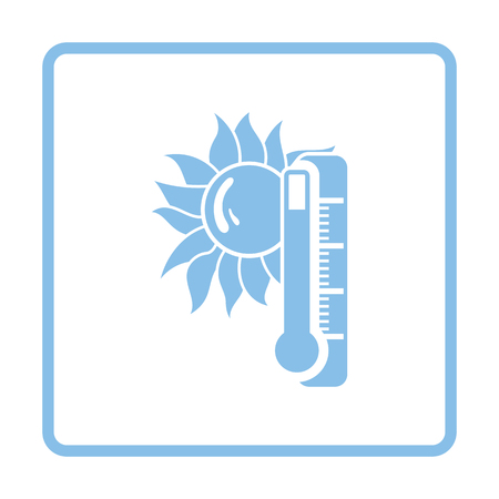 summer heat: Summer heat icon. Blue frame design. Vector illustration.