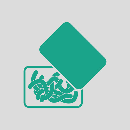 tackle box: Icon of worm container. Gray background with green. Vector illustration.