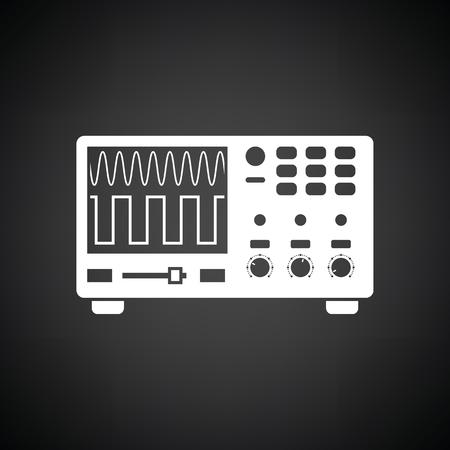 Oscilloscope icon. Black background with white. Vector illustration. Illustration