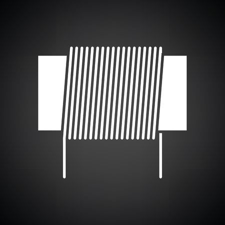 coil: Inductor coil icon. Black background with white. Vector illustration.