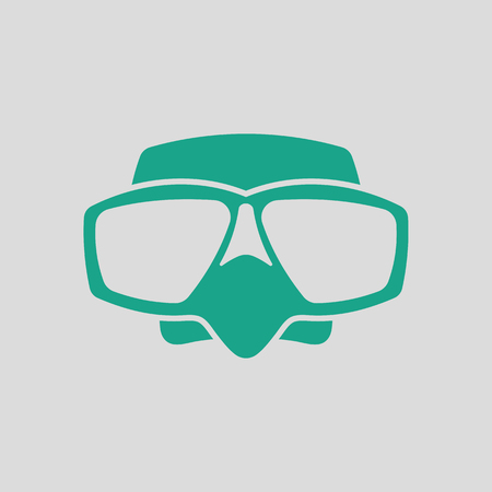 picada: Icon of scuba mask . Gray background with green. Vector illustration.