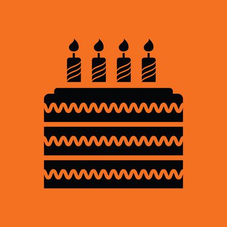 orange cake: Party cake icon. Orange background with black. Vector illustration.