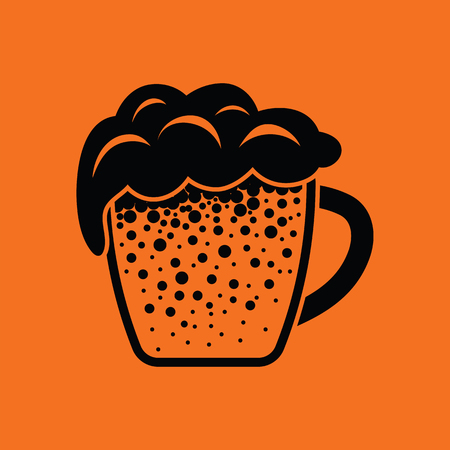 Mug of beer icon. Orange background with black. Vector illustration.