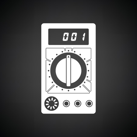 impedance: Multimeter icon. Black background with white. Vector illustration.