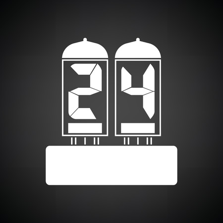 numeral: Electric numeral lamp icon. Black background with white. Vector illustration. Illustration