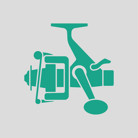friction: Icon of Fishing reel . Gray background with green. Vector illustration.