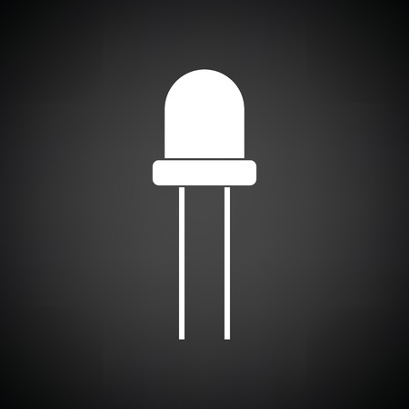 diode: Light-emitting diode icon. Black background with white. Vector illustration.