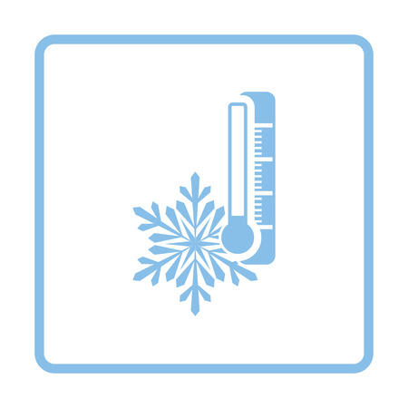 coldness: Winter cold icon. Blue frame design. Vector illustration.
