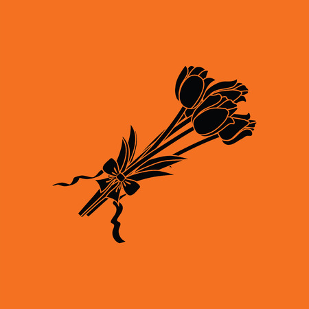 Tulips bouquet icon with tied bow. Orange background with black. Vector illustration.