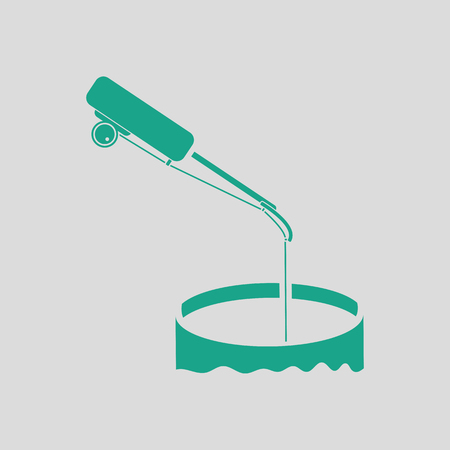 ice fishing: Icon of Fishing winter tackle . Gray background with green. Vector illustration.