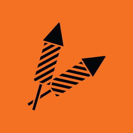 petard: Party petard  icon. Orange background with black. Vector illustration.