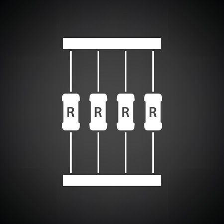 resistor: Resistor tape icon. Black background with white. Vector illustration.