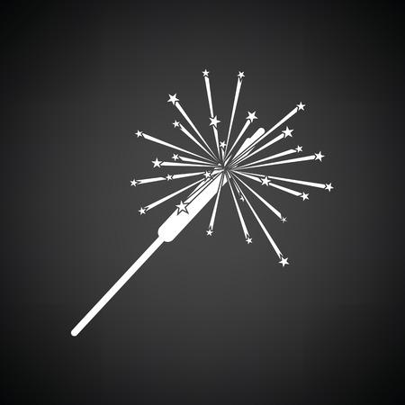 bengal light: Party sparkler icon. Black background with white. Vector illustration. Illustration